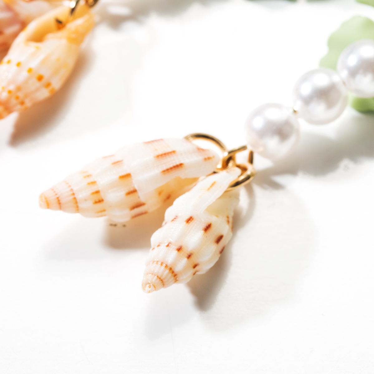 Fashion alloy spray paint flower beads shell earrings NHJE142013