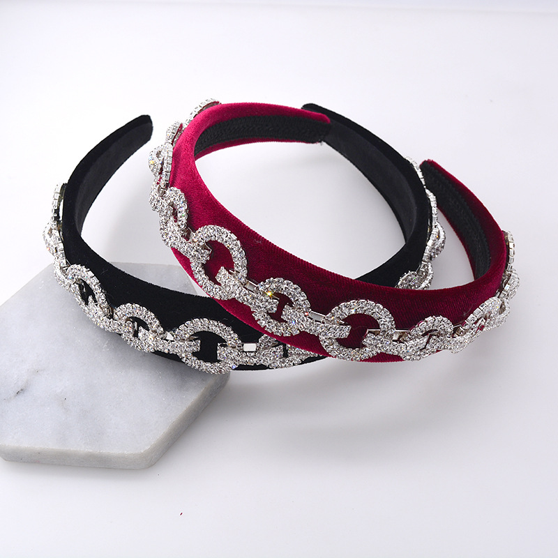 Fashion strip O-shaped rhinestone headband NHNT134378