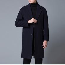 羊毛呢大衣秋冬季新款男士中长款外套韩版休闲修身纯色加厚风衣男