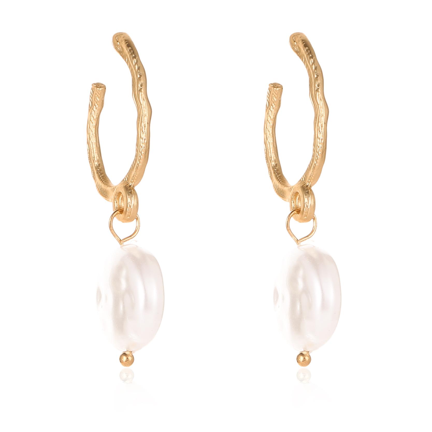 Letter U stud earrings gold metal studs women baroque round pearl earrings NHCU197137