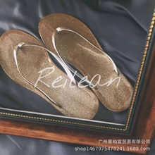 休閑純色少女韓版水晶沙灘平跟人字拖女防滑電鍍閃片拖鞋貨號209