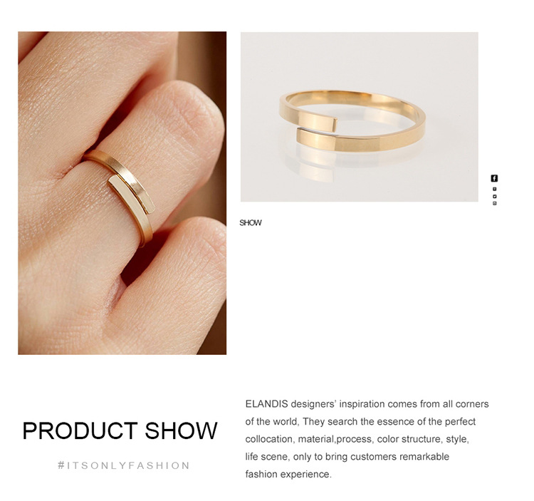 Couple ring simple stainless steel geometric smooth ring gold-plated 316L jewelry NHTF175305