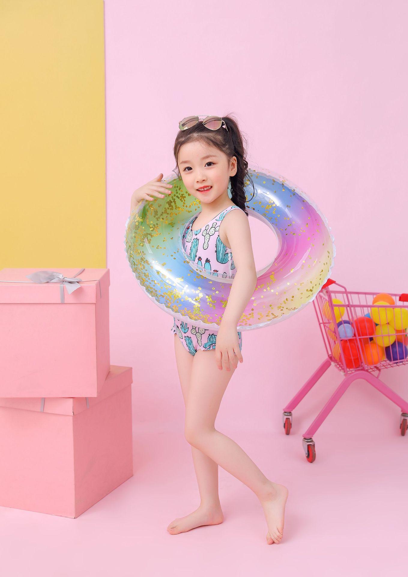 Sequins rainbow swimming ring children swim ring environmentally thick pvc NHWW142511