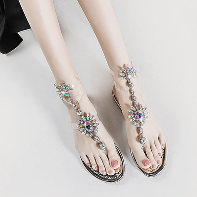 Bohemian transparent diamond flat sandals Roman flat toe one button sandals