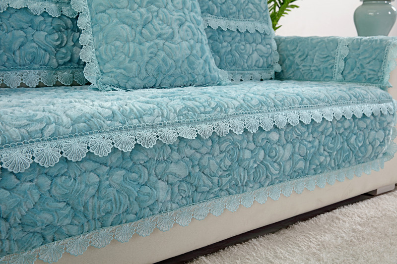 Thick Slip Resistant Couch Cover for Corner Sofa Made with Plush Fabric Including Lace for Living Room Decor 25