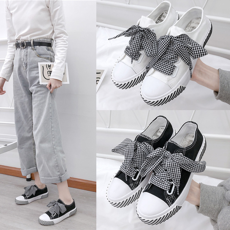 2019 fresh little white shoes for women spring new style western style all match Korean version student ins Hong Kong style girl heart canvas shoes