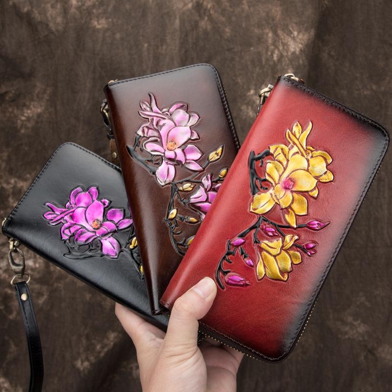 新款女士钱包女长款手工擦色大容量牛皮拉链女款欧美手拿包钱夹潮