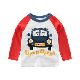 韩版童装秋季新款男童 27KIDS长袖T恤小汽车卡通宝宝上衣一件代发