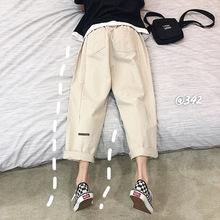 2019夏季新款休閑褲男港風薄款寬松九分褲韓版純色百搭直筒褲潮流