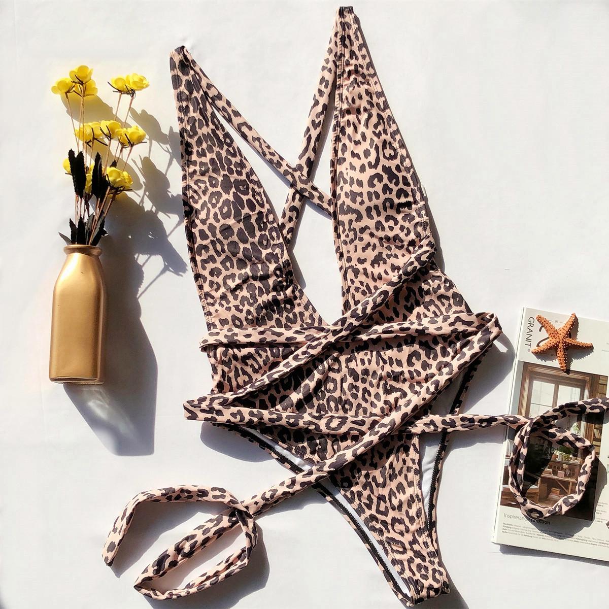 one-piece leopard-print hollow strap bikini NSDA1684