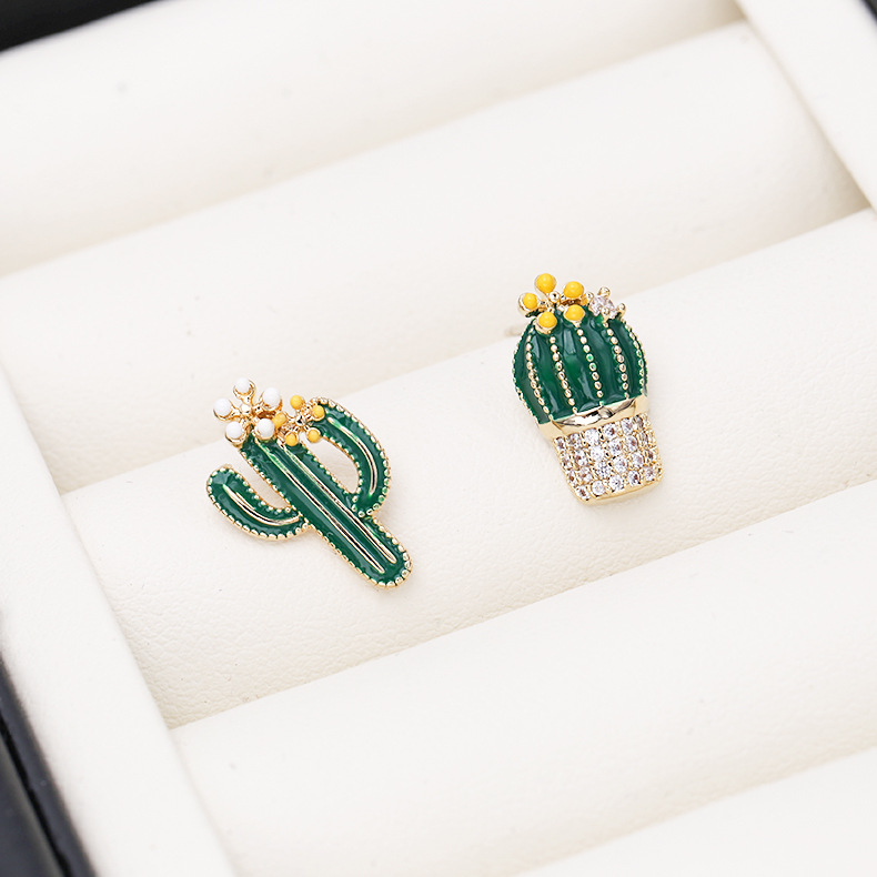 New asymmetric sterling silver needle micro inlaid zircon temperament earrings cactus earrings painted earrings NHDO195993