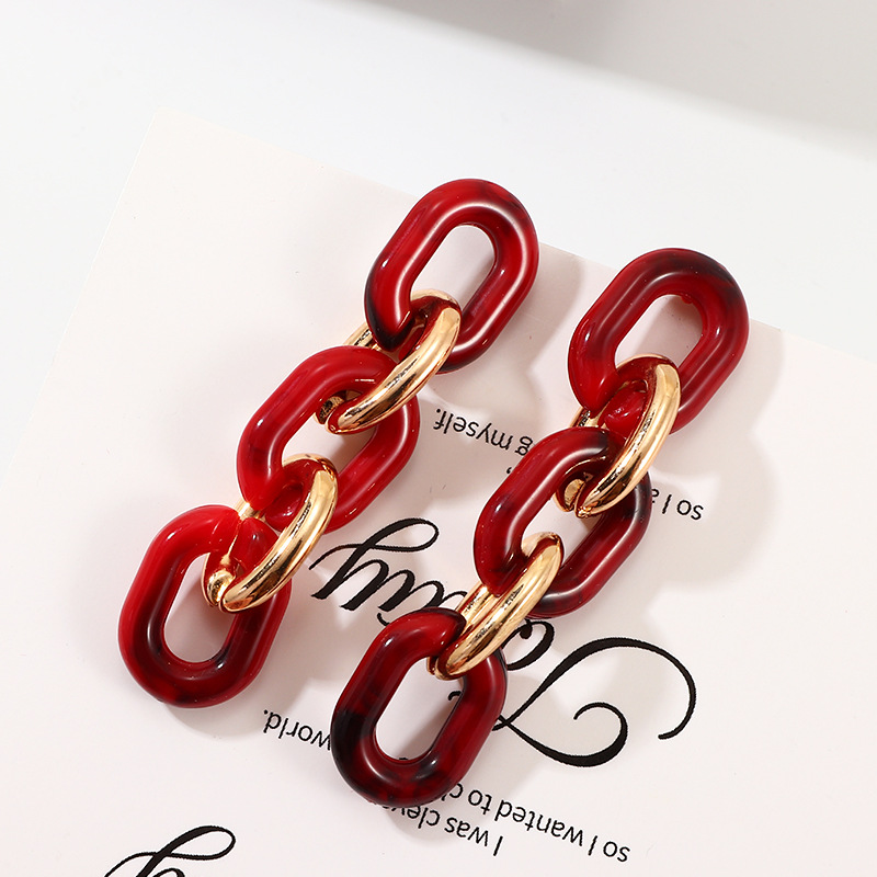 Personalized fashion dark red resin studs exaggerate creative geometric comic earrings NHNZ187863