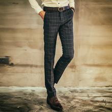 韩式男生方格西裤 伴郎爆款西裤 潮男时尚百搭长裤发廊男士休闲裤