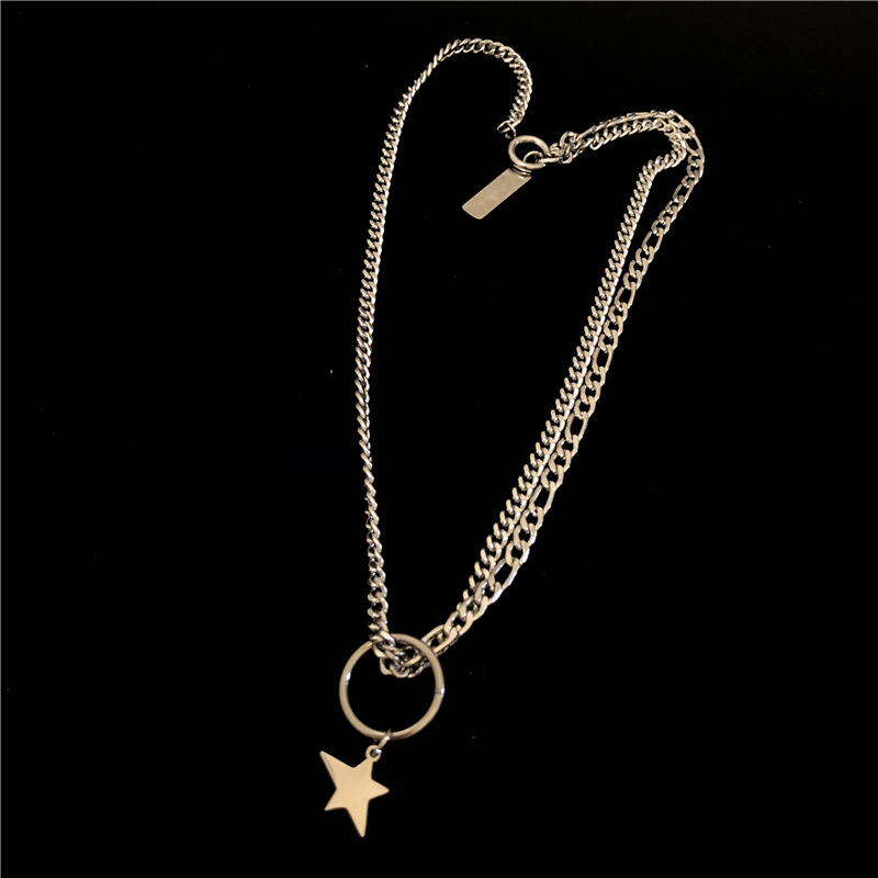 Fashion stars thick chain stainless steel necklace NHYQ144941