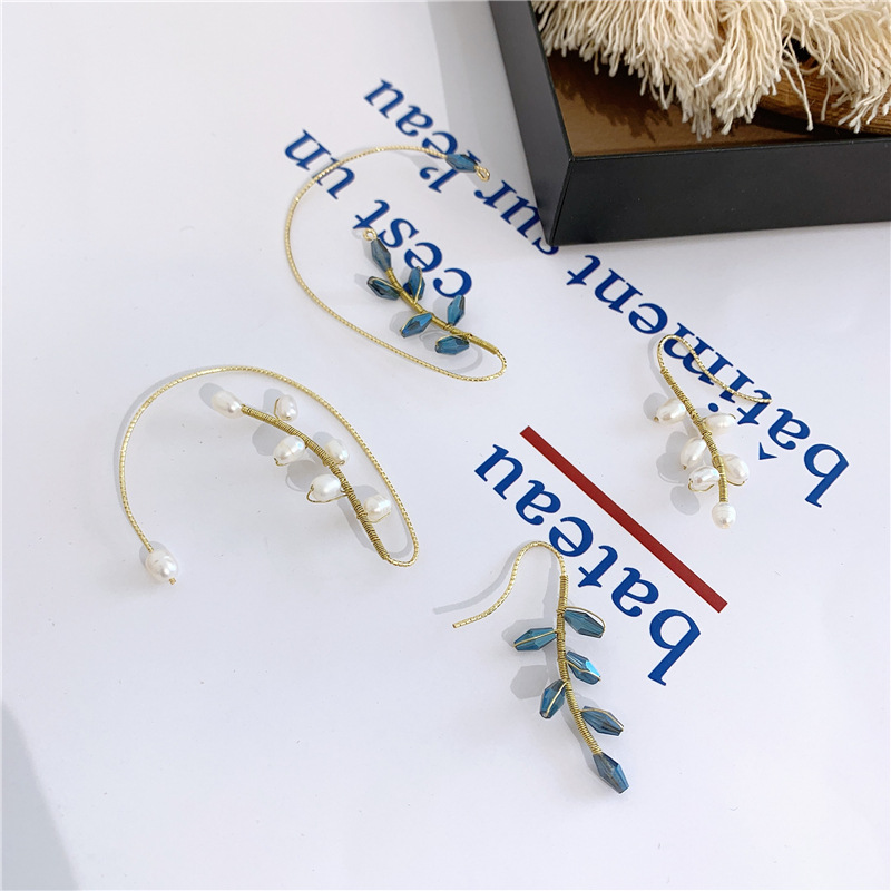 Fashion exquisite freshwater pearl super flash crystal ear hook NHYQ156844