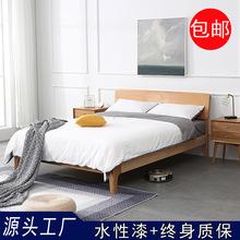 厂家直销 北欧实木床 多功能床现代简约白橡木卧室双人床1.51.8米