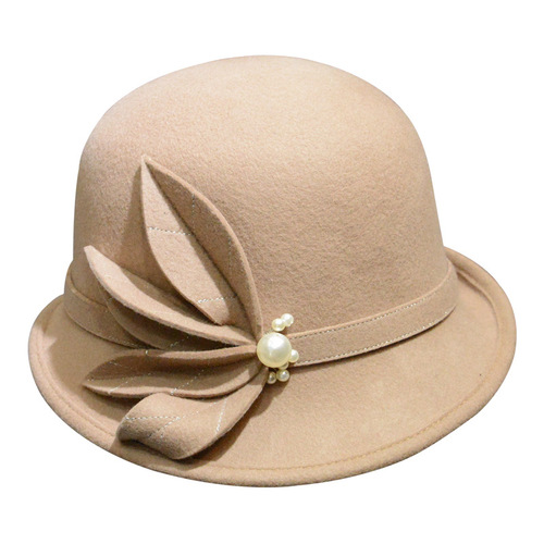 Party hats Fedoras hats for women Women handmade flower curled wool top hat pearl hat