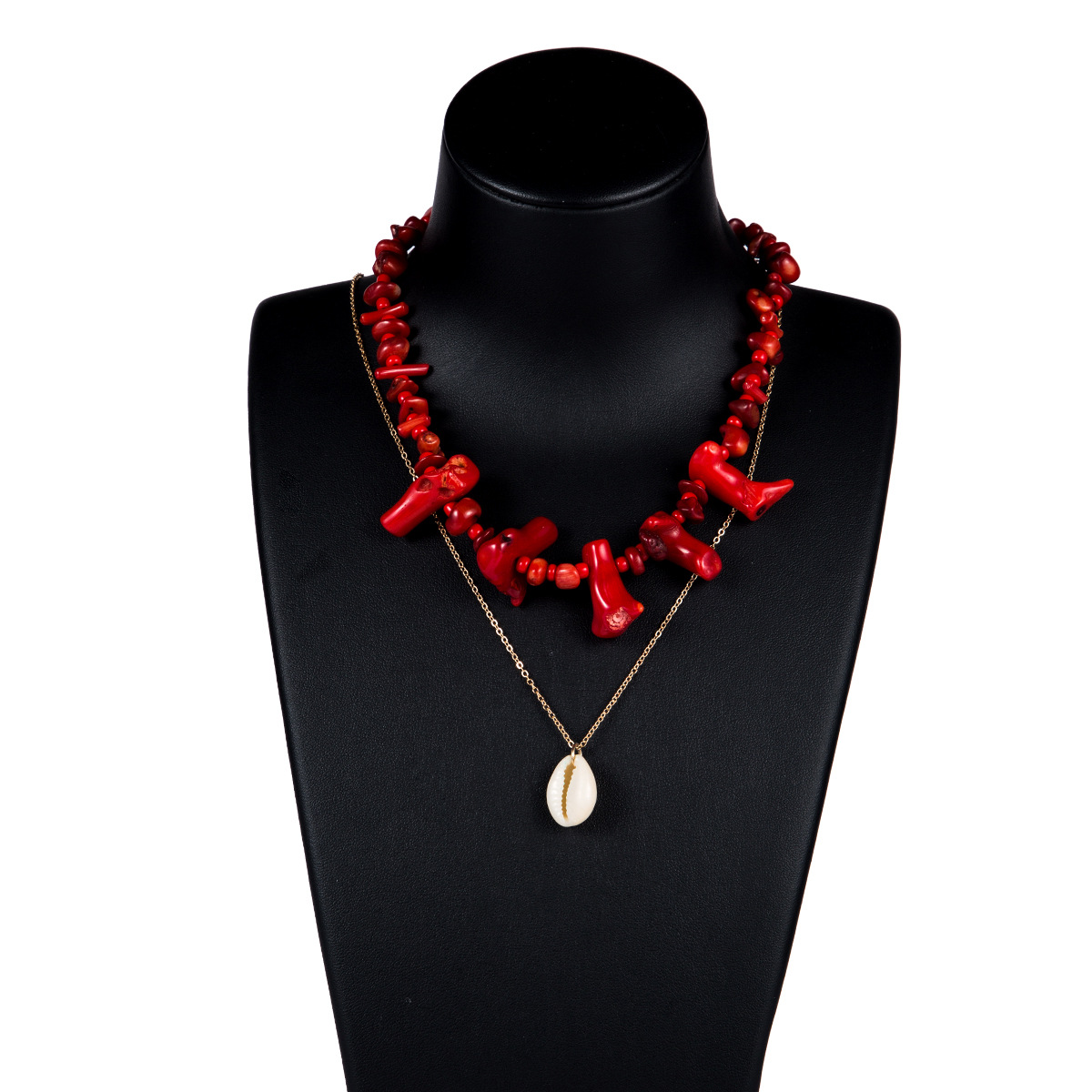 Fashionable women turquoise shell multi-layer necklace NHJE133687