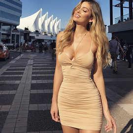 亚马逊2019秋款女装时尚纯色修身吊带夜店礼服包臀褶皱紧身连衣裙