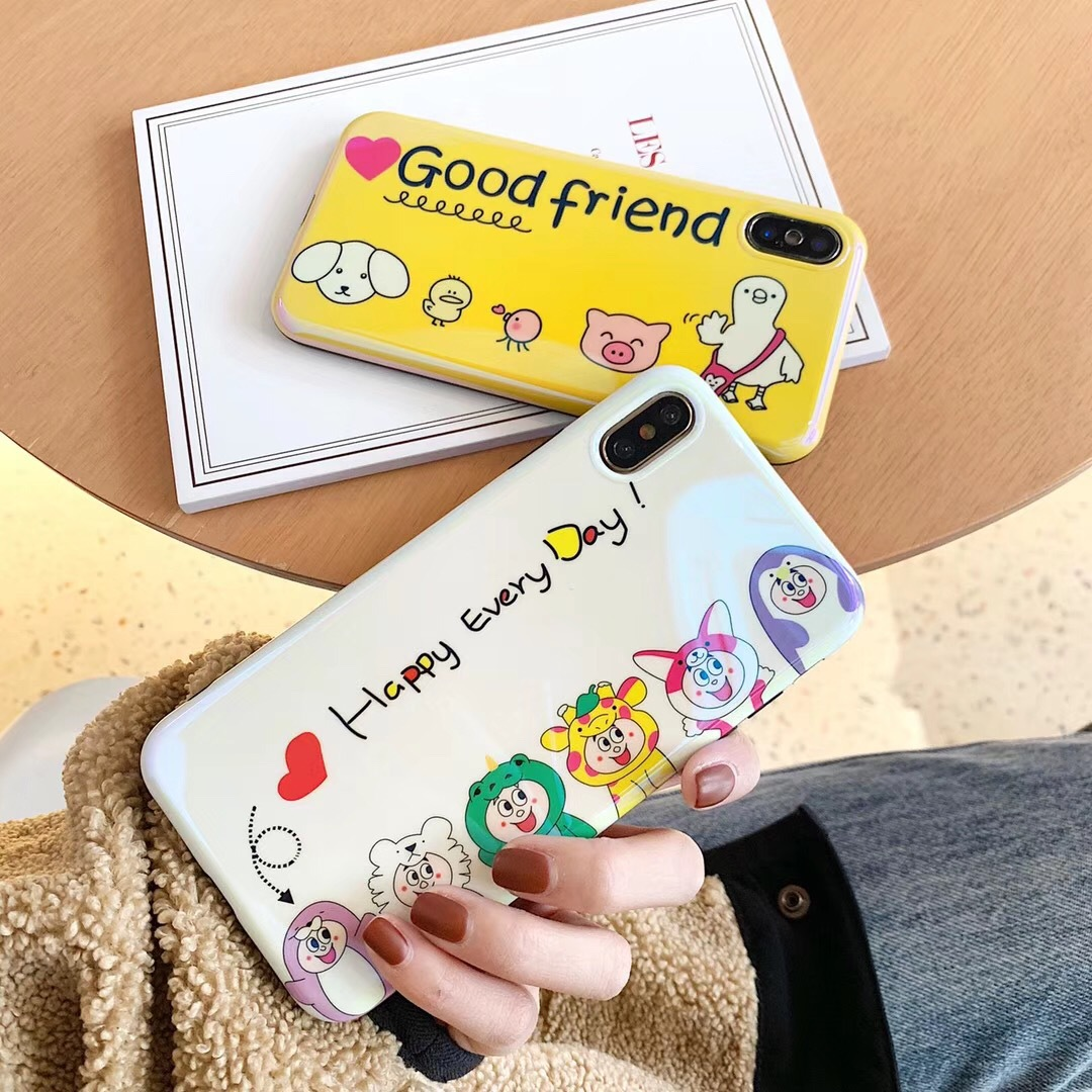 Chicken friend Apple Xs Max/XR for mobile phone case iPhone7/8plus/6sp creative Blu-ray men and women