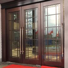 定做酒店售楼部工程新中式仿古铜色不锈钢钢化玻璃平开门地弹门