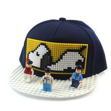 跨境新款親子個性DIY兼容樂高積木帽子兒童拼圖漫威嘻哈棒球帽