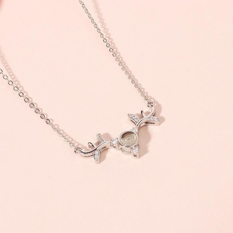 100 languages I love you antler pendant necklace NHRN304684