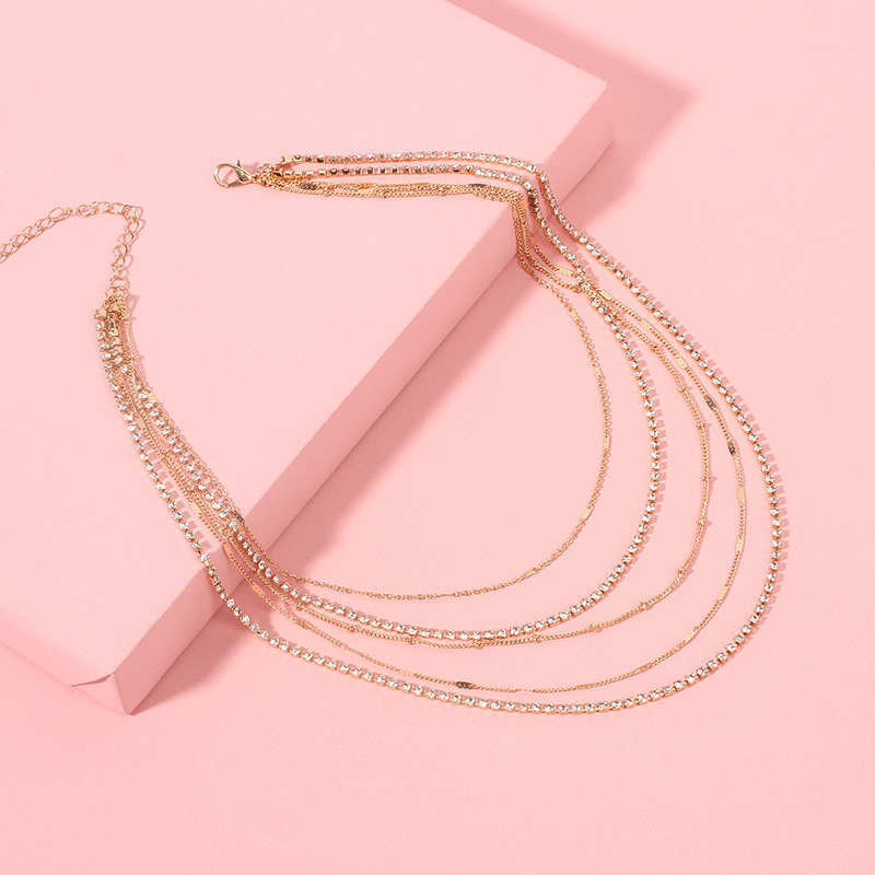 Fashion ethnic  simple multilayer necklace short clavicle chain NHRN254704