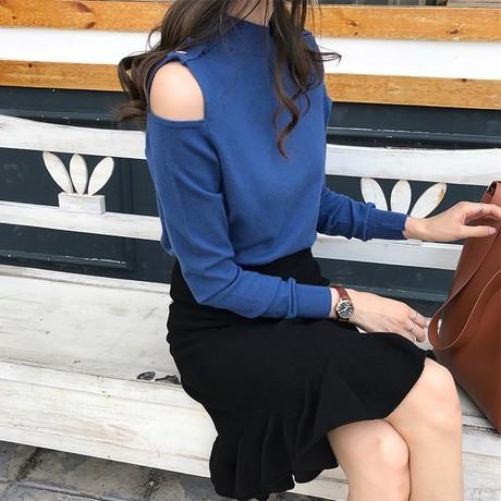2019 봄 뚱MM 신상 라지 여성 상의 일한 캐주얼 오프숄더 반폴라 긴팔 티셔츠