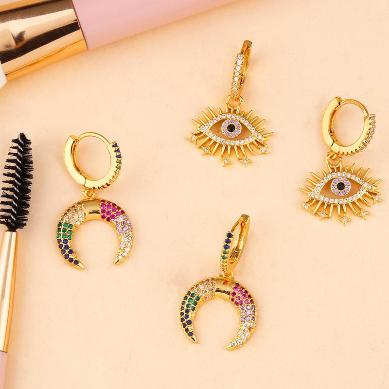 New copper inlay zircon color moon eye earrings NHAS152781