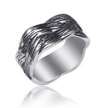 欧美时尚创意饰品编织戒指简约复古男士指环不锈钢戒指钛钢戒指
