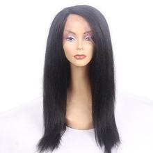 U型蕾丝逼真自然黑女隐形假发 100%日本化纤发丝机制手织蕾丝头套