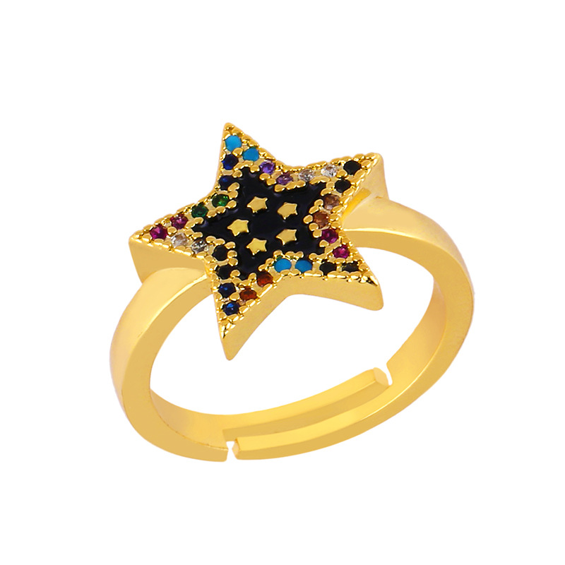 Creative European and American five-pointed star open ring dripping diamond ring NHAS195362