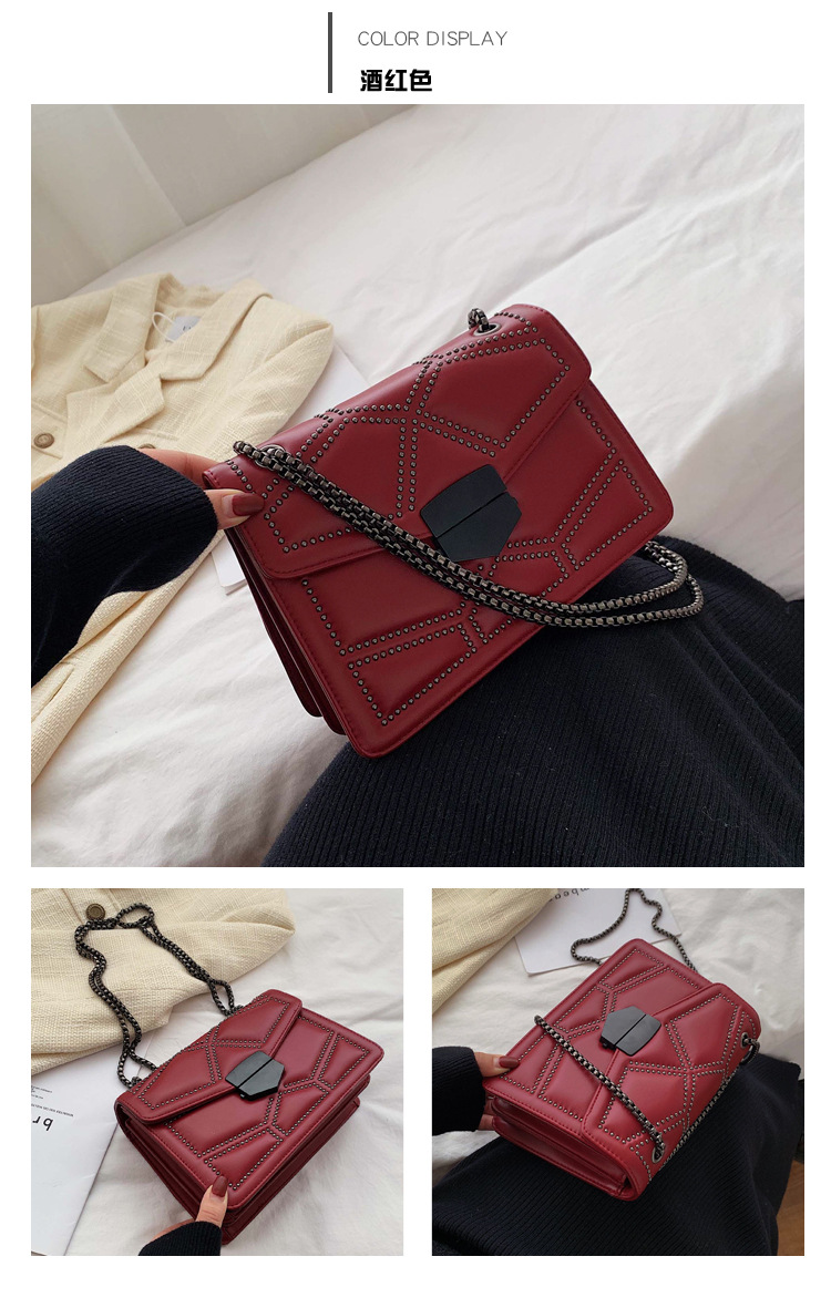 Rhombic rivet chain one shoulder small square bag female new simple fashion casual wild Messenger bag NHPB178565