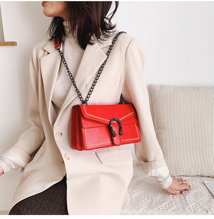 Winter new bag women's new fashion wild lock chain shoulder shoulder small square bag NHTC189312