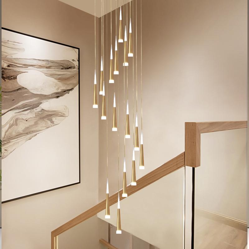 楼梯灯长吊灯复式楼客厅吊灯led后现代轻奢别墅家装灯饰非标灯具