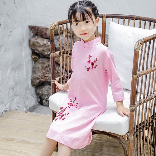 Children Chinese Dress cheongsam sleeve slub cotton embroidered cheongsam dress show dress