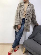 羊尾格子单排扣加厚毛呢外套 2019秋冬新款韩版呢大衣外贸原单
