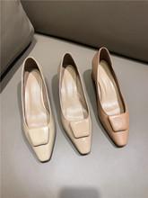 春季新品头层羊皮高端手工复古小方头粗中跟方扣浅口单鞋女鞋子