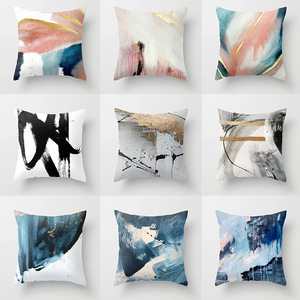 18'' Cushion Cover Pillow Case Abstract oil painting series pillow cover white hemp printing cushion cover customization