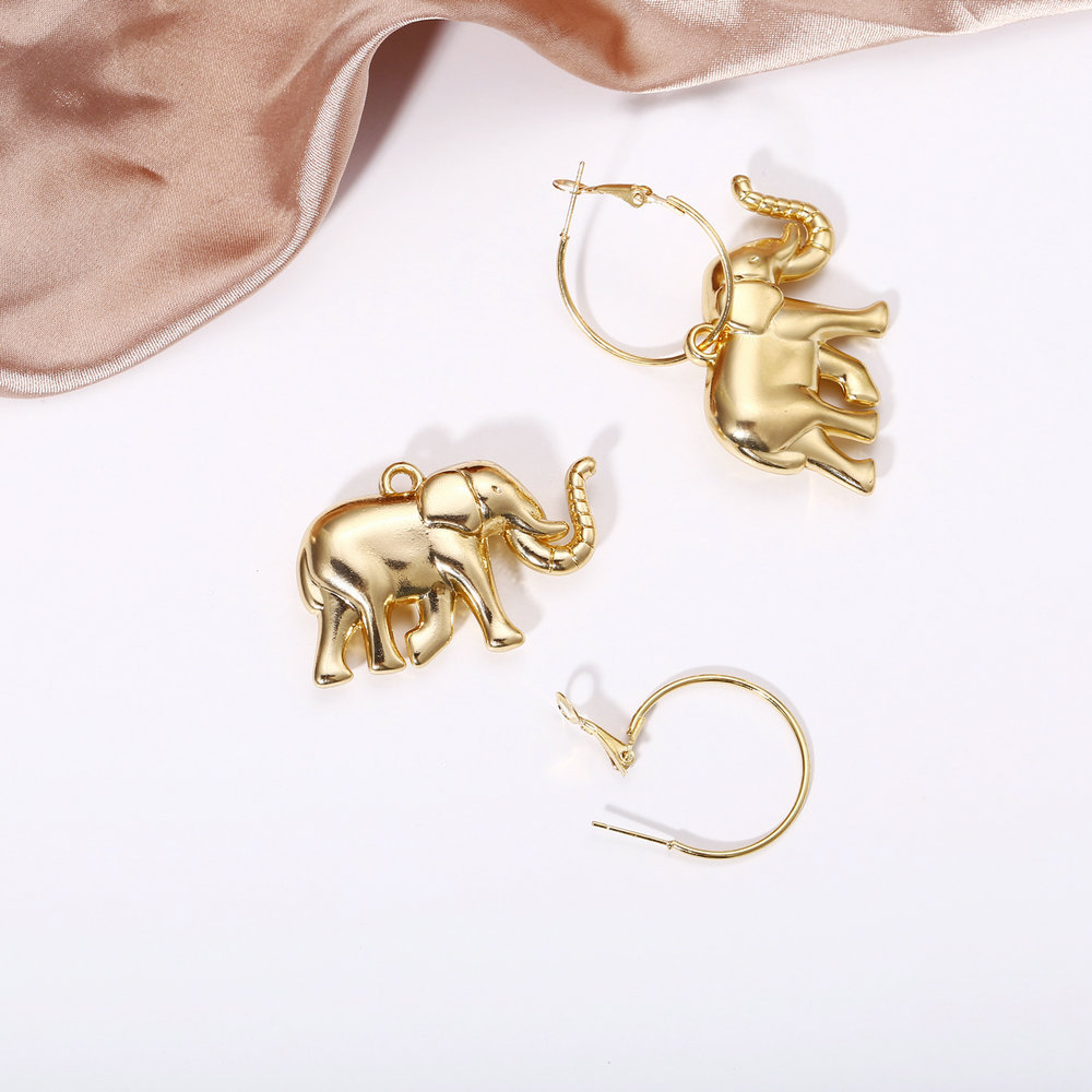 Creative retro minimalist metallic gold earrings NHPJ157263