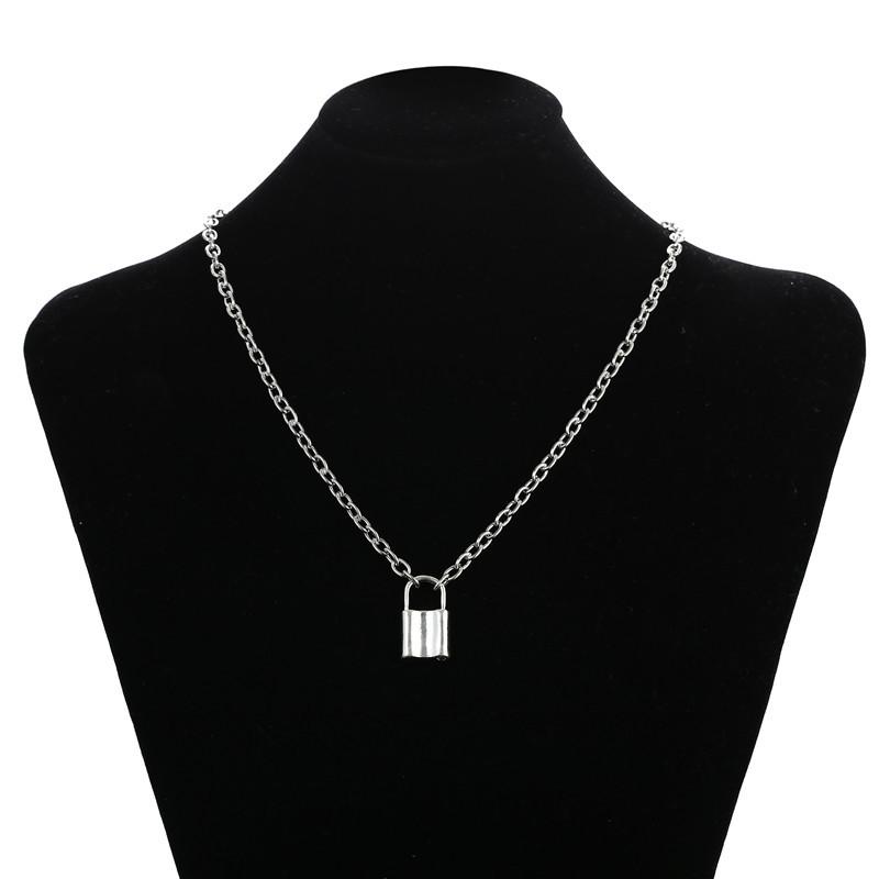 fashion retro punk style lock pendant necklace NHZU315267