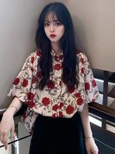 洋气衬衣女夏季韩版2019新款复古法式小众花朵短袖衬衫设计感上衣