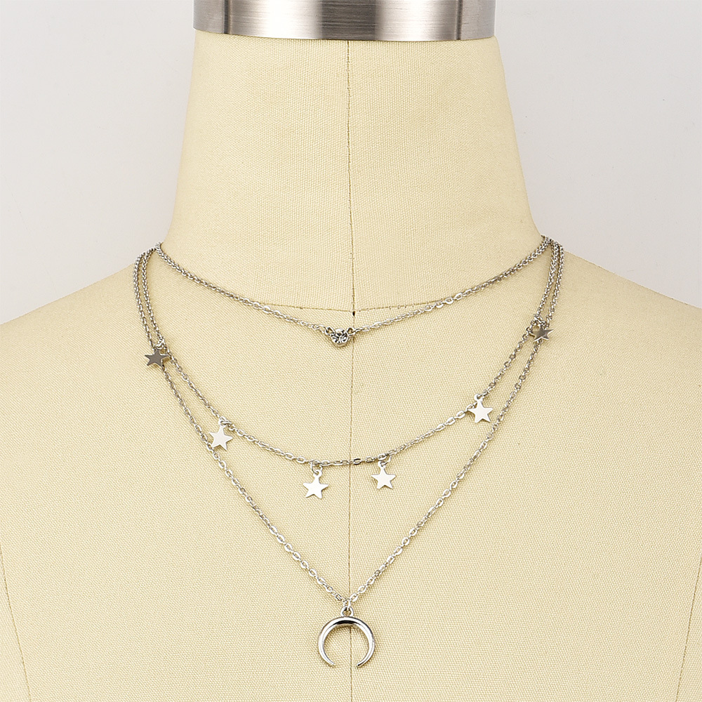 fashion new Women's multi-layer five-pointed star  moon alloy pendant necklace  NHAJ258972