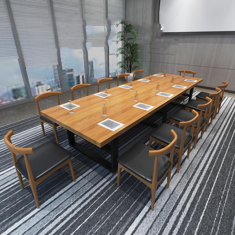 厂销简约现代职员办公桌实木长条油漆会议桌 办公室长桌洽谈桌椅