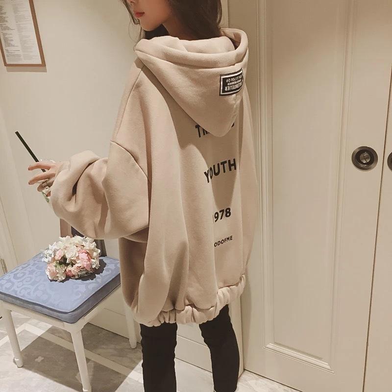 时尚女装加绒外套学生韩版卫衣保暖宽松大码拉链开衫春秋2020新款