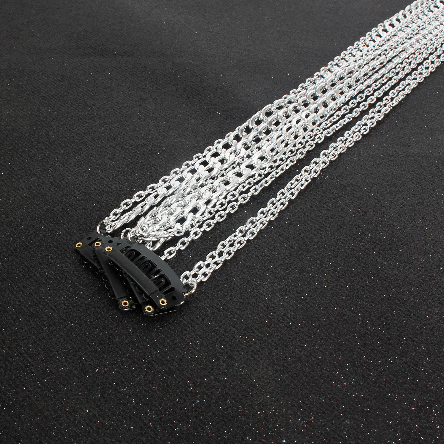 Fashion silver plated non-fading wig extension chain NHCT155139