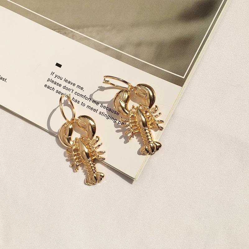 wholesale new marine life bohemian exaggerated lobster shell ocean wind ear hoop earrings NHAI245791