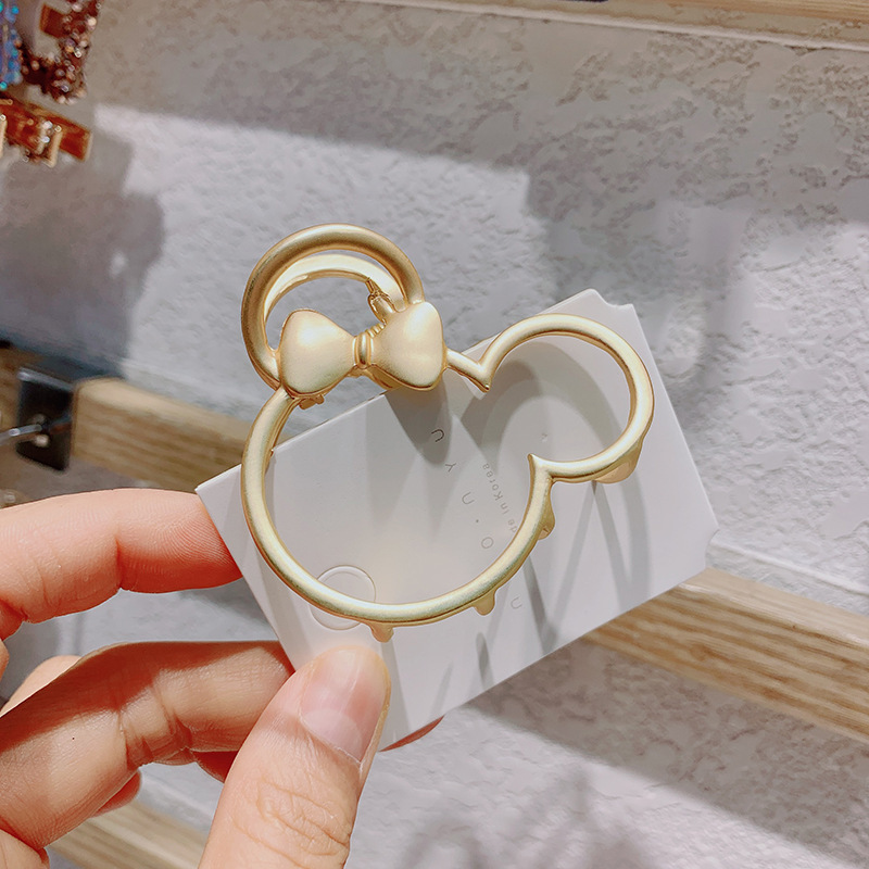 Hot selling fashion metal matte lady mouse hollow flower hair clip NHCQ258999