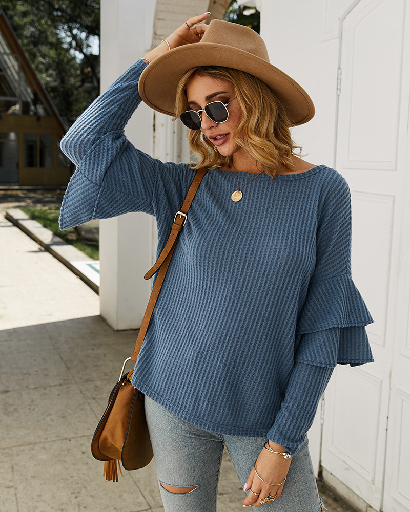 fashion women's autumn and winter solid color T-shirt sweater NSKA2145